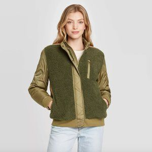 NWOT Universal Thread Green Utility Sherpa Jacket